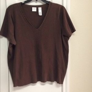 Short sleeve brown sweater plus size